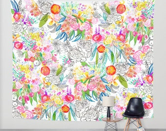 Colorful floral botanical sketchbook painting // drawing print wall tapestry. A fun and very colorful addition to any room, pick your size.