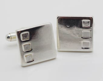 Square Cuff Links Silver Plated Metal with Square Side Shape Detail Cufflinks