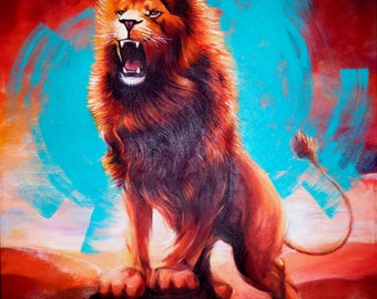 """LARGE LION PAINTING Original Fine Art """"Hear My Roar"""" 24""""X24""""X3/4"""" Modern Art Realistic Painting Acrylic on Stretched Canvas Signed and Dated"""