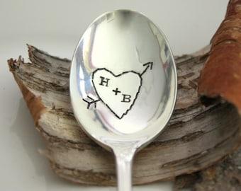 Carved Hearts - Hand Stamped Spoon - Vintage Gift - 2012 Original forsuchatimedesigns - Valentine