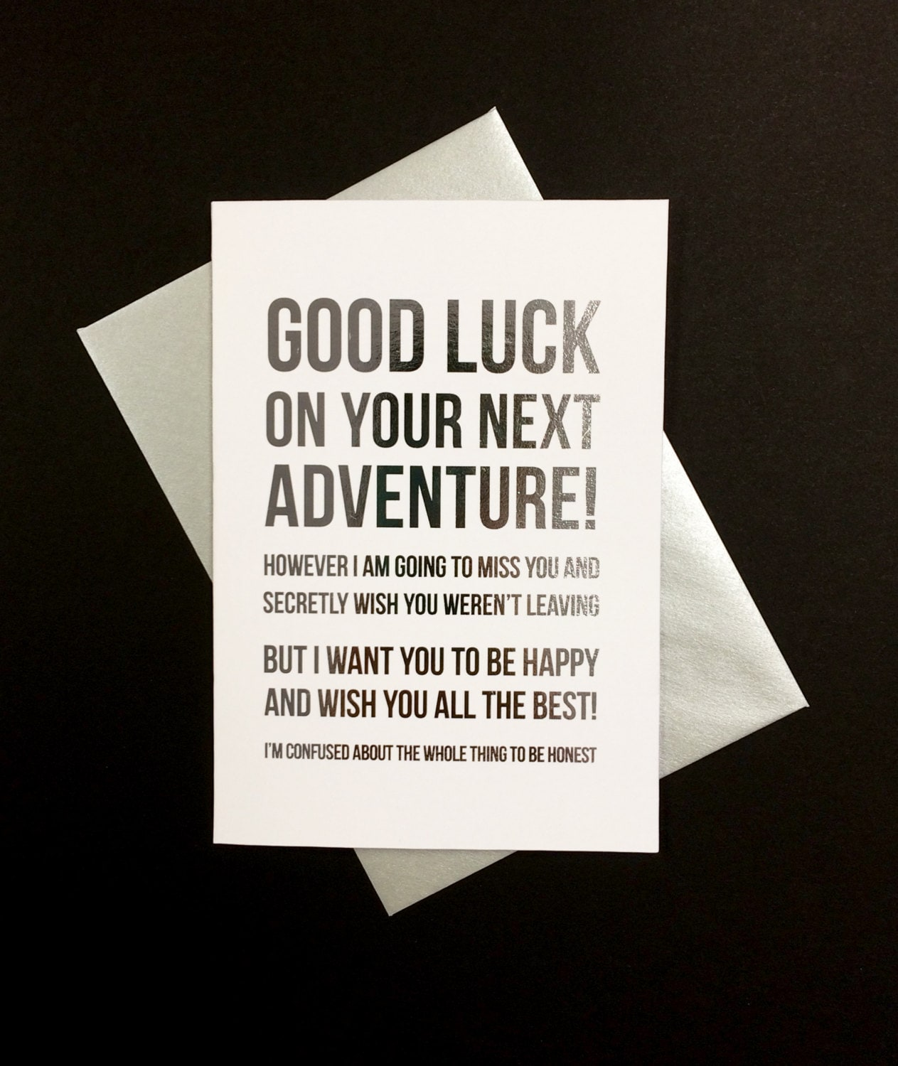 Good luck on your next adventure a6 silver foiled greeting zoom kristyandbryce Image collections