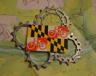 "Maryland bicycle flag vinyl sticker, ~2x3"""