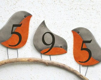 The Robin Address Plaques, Address Numbers, House Numbers Plaque, Ceramic House Number