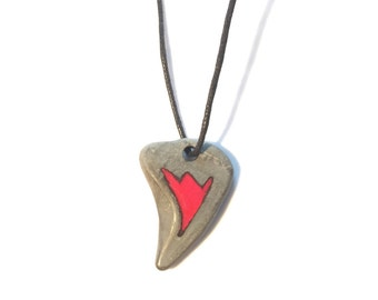 Shark Tooth shape Stone Pendant, Stone Resin Pendant, Natural Jewellery, Handmade Jewellery, Gift for Him, Gift for Her, Valentines gift