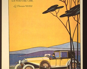 Art Deco Automobile Advertisment Ad Advertising Yellow Delage