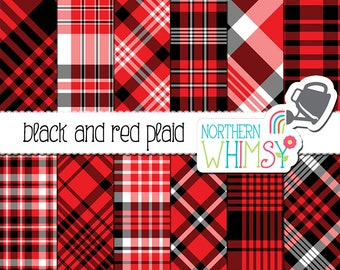 Red and Black Plaid Digital Paper - Hygge Plaid - tartan scrapbook paper - black, white, and red seamless patterns - commercial use - CU OK