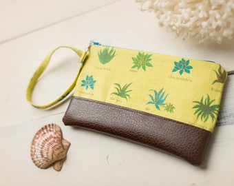 Small Katrina Pouch, Yellow Aloe and Vegan Leather