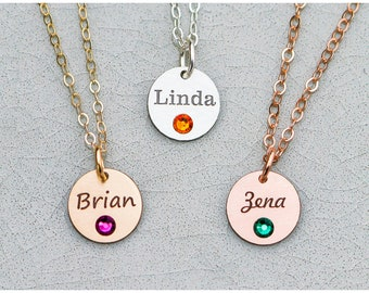 Name Birthstone Necklace • Name Custom Engraved Name Charm Personalized Birthstone Name Jewelry•Little Name Charm Birthstone Gold Name BB_18