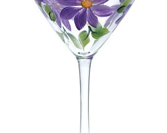 Purple Daisies Martini Glass