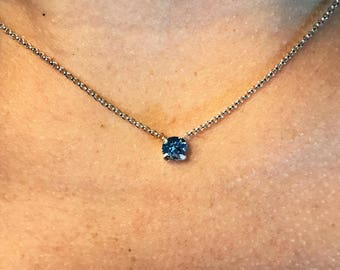 Solitaire Necklace - Blue Swarovski Necklace - Blue Solitaire Crystal Necklace - Blue Single Stone Necklace - Silver Solitaire Necklace