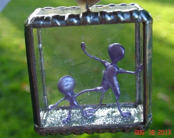 Cube People Stained Glass Ornament
