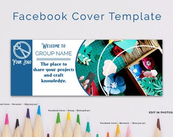 Crafty Facebook Cover Template, Facebook Banner, Facebook Timeline, Facebook Template, Facebook Group Cover Template, INSTANT DOWNLOAD