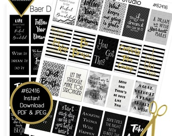 "Printable Planner Sticker, Digital Quotes, Planner Quote Stickers, Black and Gold Planner Stickers, Happy Planner 1.5""x2.25"" boxes, #62416"
