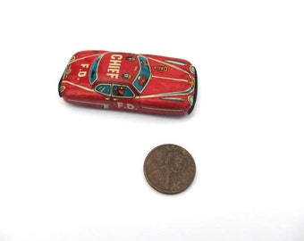 vintage red F.D. Chief miniature tin metal car Japan collectible car antique metal car vintage red car push pull car