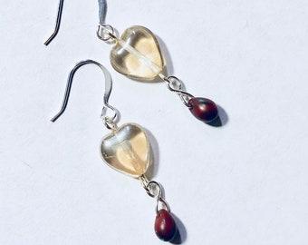 Champagne AB Heart Shaped Glass Teardrop Earrings TCJG