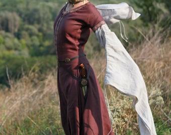"""16% DISCOUNT! Medieval Linen Dress """"Archeress"""""""