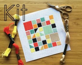 Cross stitch kit, retro squares, counted cross stitch kit