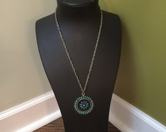 Silver chain with turquoise medallion
