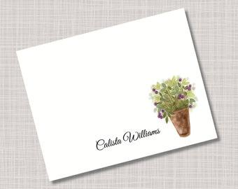 Custom Gardening Flower Pot Leaves & Berries Note Cards