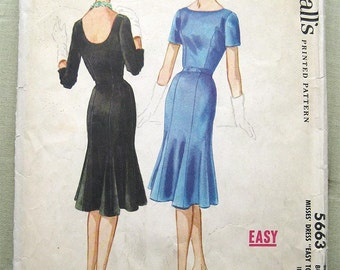 Vintage 50s Form Fitting Dress Flared Tulip Skirt. McCall's 5663 Sewing Pattern. Size 14