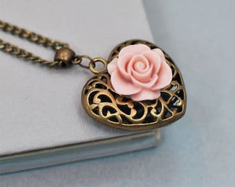 Heart Necklace, Gift for Her, Pink Rose Pendant, Christmas Gift for Women, Antique Brass Necklace, Long Chain Necklace, Country Chic Jewelry