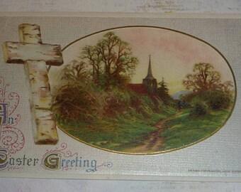 Cross and Church Scene Antique Winsch Easter Postcard