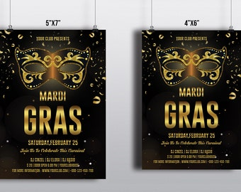 Mardi Gras Party Flyer Template | Mardi Gras poster, Mardi Gras Carnival Flyer | Photoshop & Elements Template | Instant download