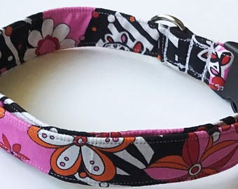 Pink and Black Floral Collar for Girl Dog or Cat
