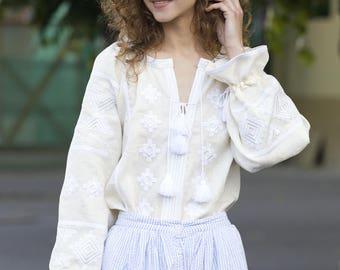 Vyshyvanka Ukrainian linen embroidered blouse ethnic style, milky linen embroidered  blouse mexican blouse chic nationale