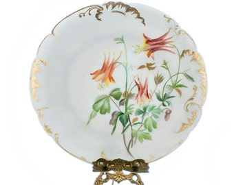 Antique Limoges Plate H & L Co 1800s Victorian Cabinet Plate Hand Painted Floral Pattern Heavy Collectible Limoges Plates