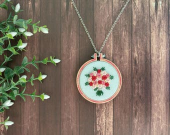 Roses embroidery necklace,Floral statement necklace, flowers embroidery pendant, embroidered jewelry, Handmade embroidery, Christmas gift