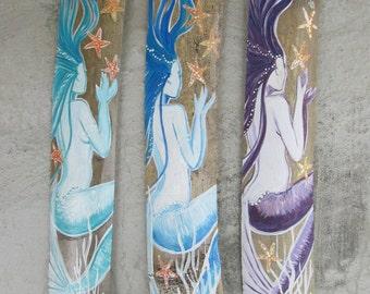 SALE Fantasy Mermaid hand painted on driftwood- custom color- Aqua mermaid- Blue- Purple