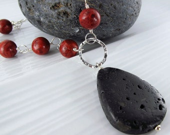 Lave Coral Connect Necklace - Lava Teardrop Pendant, Red Sponge Coral Beads, Sterling Silver