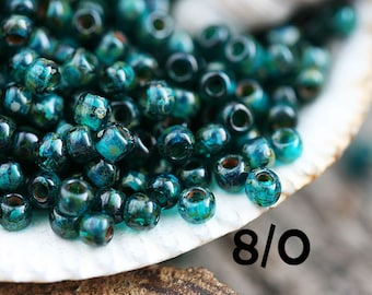 Picasso Seed beads, TOHO, size 8/0, Transparent Capri Blue Picasso, Y322, hybrid, blue seed beads - 10g - S689