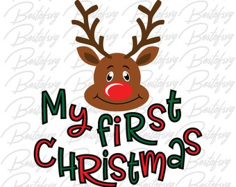 My first Christmas Svg Jpg Png Eps Dxf vector file Cameo Silhouette Cricut Cuting file Reindeer Svg First Holiday