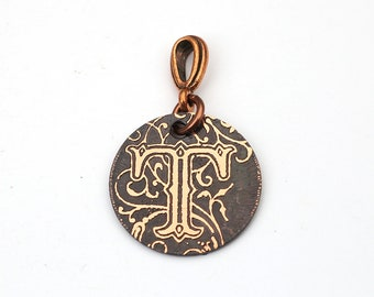 Round copper T pendant, etched letter jewelry, great gift, 22mm