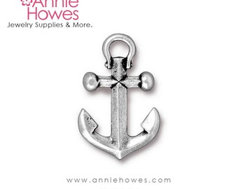 Large Silver Anchor Charm or Bracelet Connector.