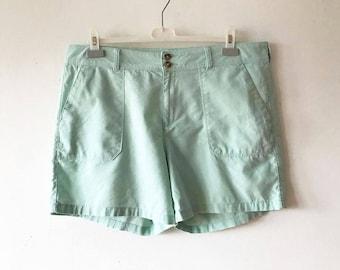 """Mint Green Men's Linen Blend Shorts Light Green Beach Shorts Short Summer Linen Shorts With Pockets Golf Shorts Size XL Large Waist 38"""""""