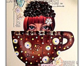 """Mixed Media Fine Art Collage ~ """"Java Bean Siren"""""""
