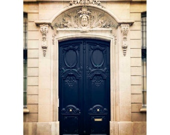Paris ornate blue door photograph, earth toned Home Decor, Wall Art, Europe - Blue Door in Paris (vertical orientation. See full image)