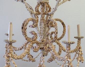 Shell chandelier etsy vintage shell chandelier aloadofball Choice Image