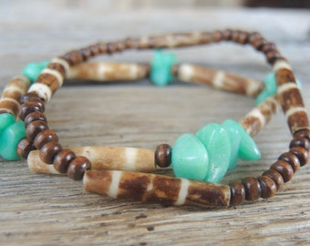 2 mens bracelets. Back to the roots--stones-wood