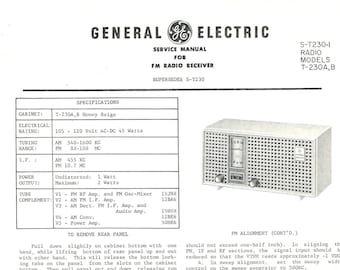 General Electric Vintage Radio Service Manual Excellent Condition 1961 Download PDF Model T-230 A,B Table FM Radio Receiver