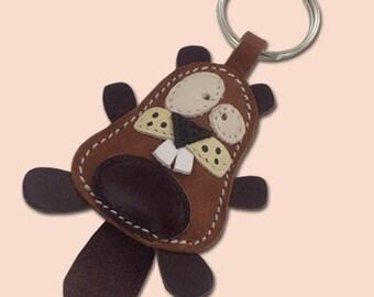Cute little beaver animal leather keychain