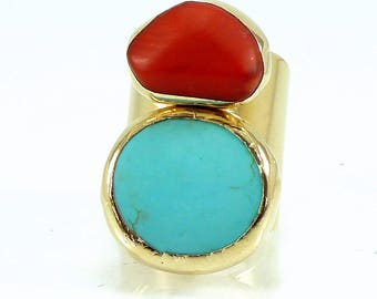 Turquoise Jewelry, Statement Turquoise Ring, December Birthstone, Gemstone Ring, Boho chic Ring, Coral and Turquoise Unique Gold ring.