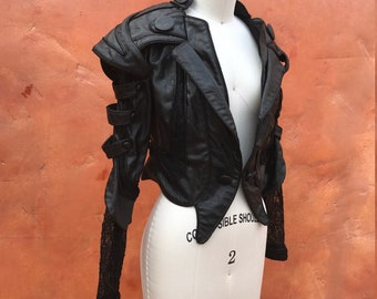 Black Pirate SCA Steampunk Victorian Women's Blazer Coat Jacket fantasy Sm Med