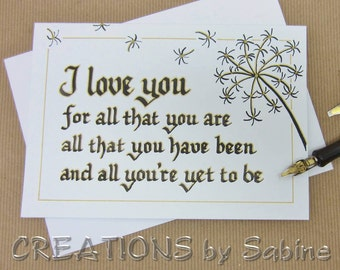 I love you Original Calligraphy Card Dandelion Design Art Anniversary Greeting Card Dandelions / READY TO SHIP (41)