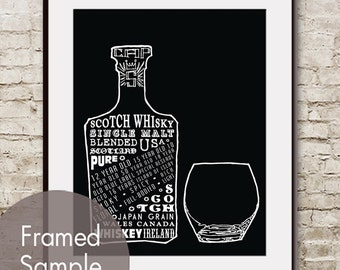 Whiskey and Glass (Top Shelf Alcohol Series) Art Print (Featured in Black) Buy 3 Get One Free