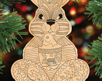 Easter Bunny with Chick DIY Coloring Decorative Holiday Ornament  #8344502   Decorative Keepsake Wooden Ornaments by G DeBrekht