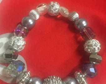 Silver Crystal and Faux Pearl Bracelet